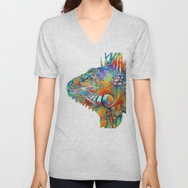Colorful Iguana Art - One Cool Dude - Sharon Cummings Unisex V-Neck