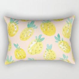 Watercolour Pineapples on Peach Rectangular Pillow