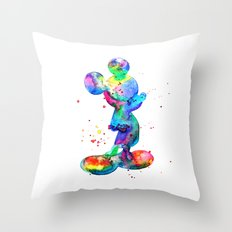 Mickey Mouse, watercolor Mickey Mouse Throw Pillow