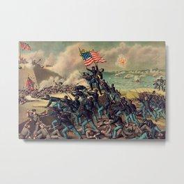 African American Civil War Troops Storming Fort Wagner Landscape Metal Print