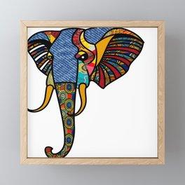 Primary Tribal Elephant Framed Mini Art Print