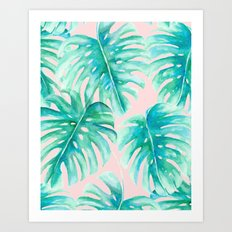 Paradise Palms Blush Art Print