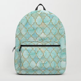 Luxury Aqua and Gold oriental pattern Backpack