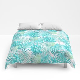 Turquoise Palm Leaves and Pineapples on Pink Comforters