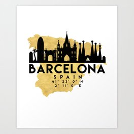 BARCELONA SPAIN SILHOUETTE SKYLINE MAP ART Art Print