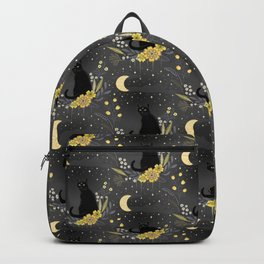 Black cats in the midnight garden - yellow and grey Backpack