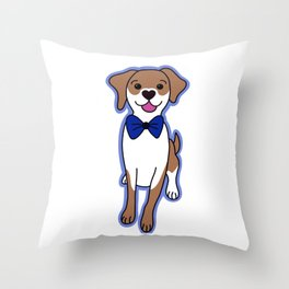 Dog with Bow Tie Throw Pillow