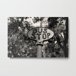 Old Bus Stop Sign in Savannah Georgia, Black and White Photography, Savannah Photo Print Metal Print