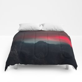 Burning clouds, fog and mountains Comforters
