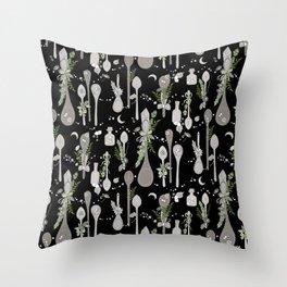 Kitchen Witch Spoons (Black) Throw Pillow