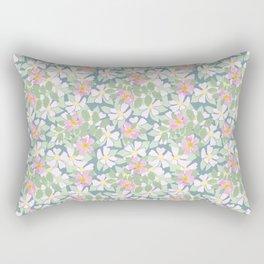 Pink Dogroses on Moody Blue Rectangular Pillow