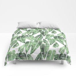 Island Goddess Leaf Green Comforters