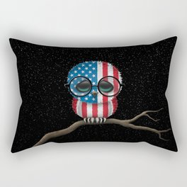 Baby Owl with Glasses and American Flag Rectangular Pillow