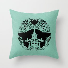 Black butterfly and flowers mandala Throw Pillow