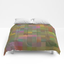 geometric square pixel pattern abstract in green pink yellow Comforters