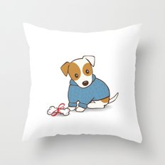 Jack Russell Terrier Wearing Sweater Illustration Throw Pillow