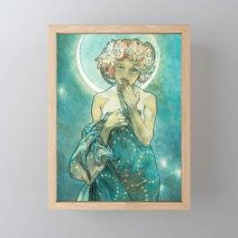 Alphonse Mucha Moonlight Art Nouveau Framed Mini Art Print