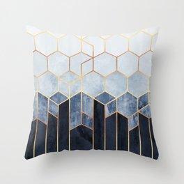 Soft Blue Hexagons Throw Pillow