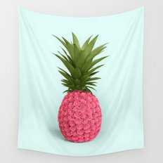 PINEAPPLE ROSES Wall Tapestry