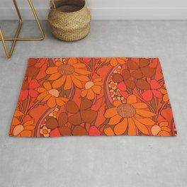 Vintage floral linen fabric  Rug