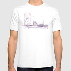 Watercolor landscape illustration_London Eye Mens Fitted Tee White MEDIUM