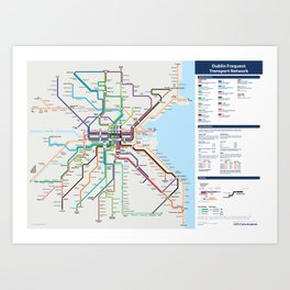 Dublin Frequent Transport Map - Complete Art Print