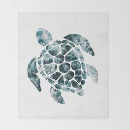 Sea Turtle - Turquoise Ocean Waves Throw Blanket