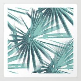 Teal Aqua Tropical Beach Palm Fan Vector Art Print