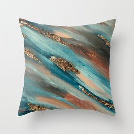 Colorful Paint Brushstrokes Gold Foil Throw Pillow