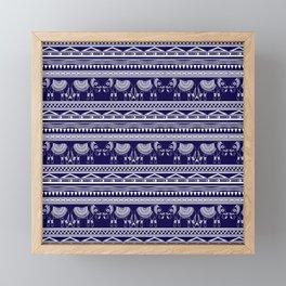 White and Navy Blue Elephant Pattern Framed Mini Art Print