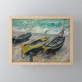Claude Monet - Three Fishing Boats Framed Mini Art Print