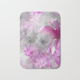 CHERRY BLOSSOMS ORCHIDS AND MAGNOLIA IMPRESSIONS IN PINK GRAY AND WHITE Bath Mat