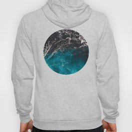 Wavy foamy blue black ombre sea water Hoody