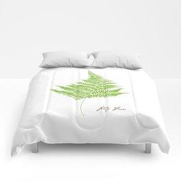 Lady Fern Illustration Botanical Print Comforters