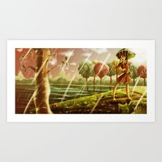 Girl with the Umbrella Art Print