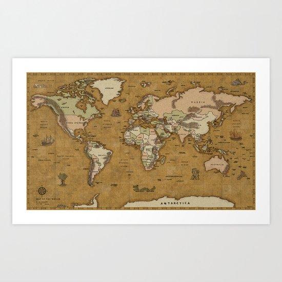 World Treasure Map Art Print