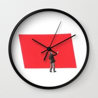 Black and White and Red All Over 5 Wall Clock