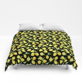 You're the Zest - Lemons on Black Comforters