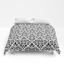 Scroll Damask Pattern Black on White Comforters
