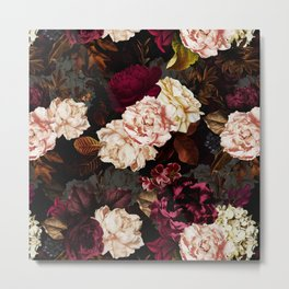 Vintage & Shabby Chic - Midnight Rose and Peony Garden Metal Print
