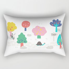 The Tortoise & the Hare in the woods by UnPato Rectangular Pillow