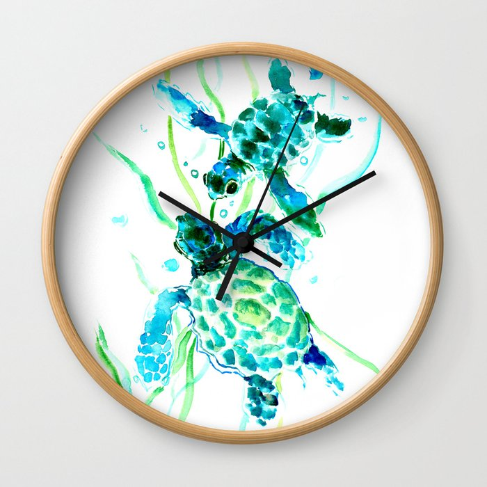 Sea Turtles, Turquoise blue Design Wall Clock