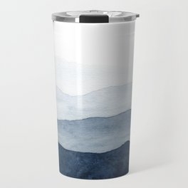Indigo Abstract Watercolor Mountains Travel Mug