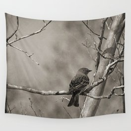 The Quest:  Black and White Bird Antiqued Wall Tapestry