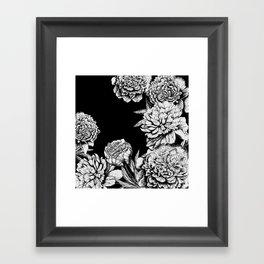 FLOWERS IN BLACK AND WHITE Framed Art Print