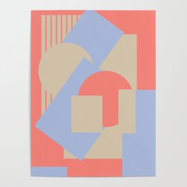 Geometrical abstract art deco mash-up coral sapphire Poster