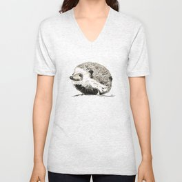 Hedgehog watercolour and ink Unisex V-Neck