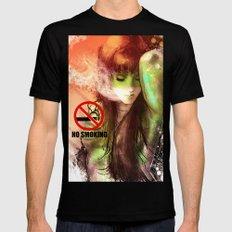 No Smoking MEDIUM Black Mens Fitted Tee