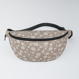Christmas Woodland Bronzed Brown Snow Flakes Fanny Pack