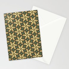 Flower Pattern Yellow/Deep Green Stationery Cards